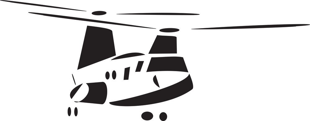 Front View Of Standing Helicopter.