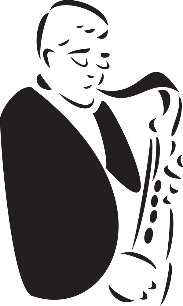 Illustration Of A Man Playing A Saxophone.