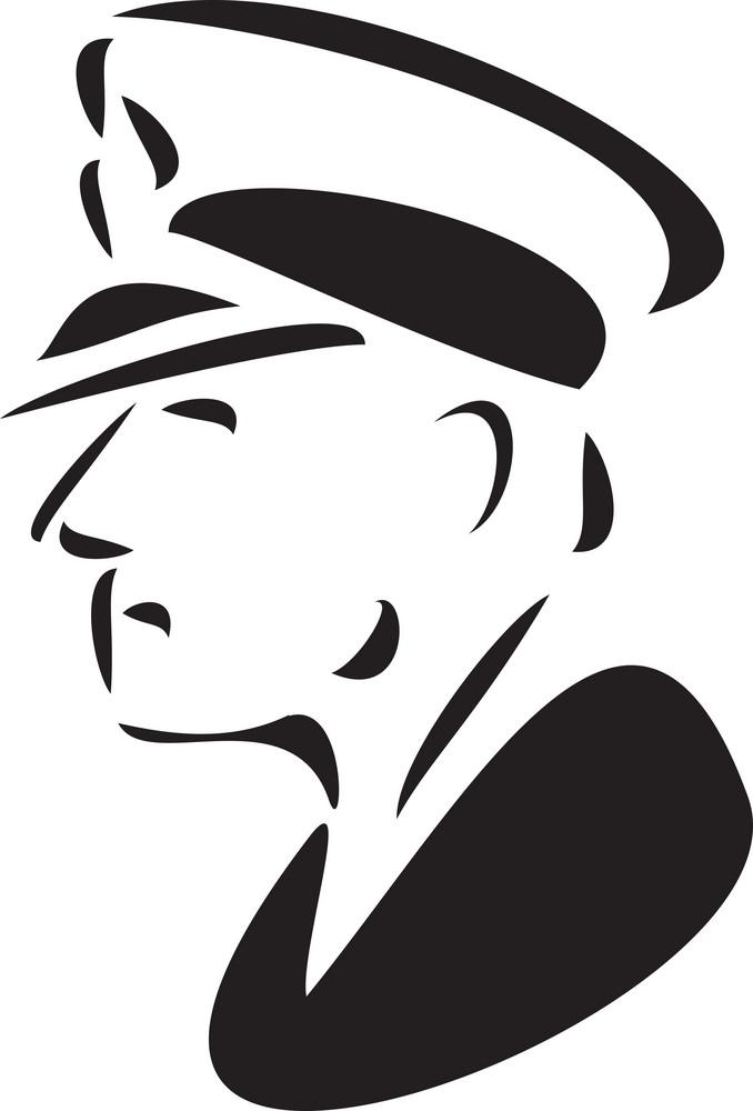 Illustration Of A Sailor In Captain Uniform.