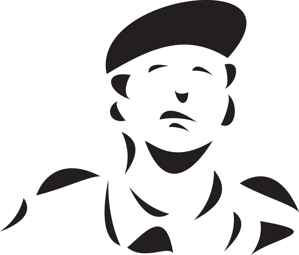 Black And White Illustration Of A Scout.