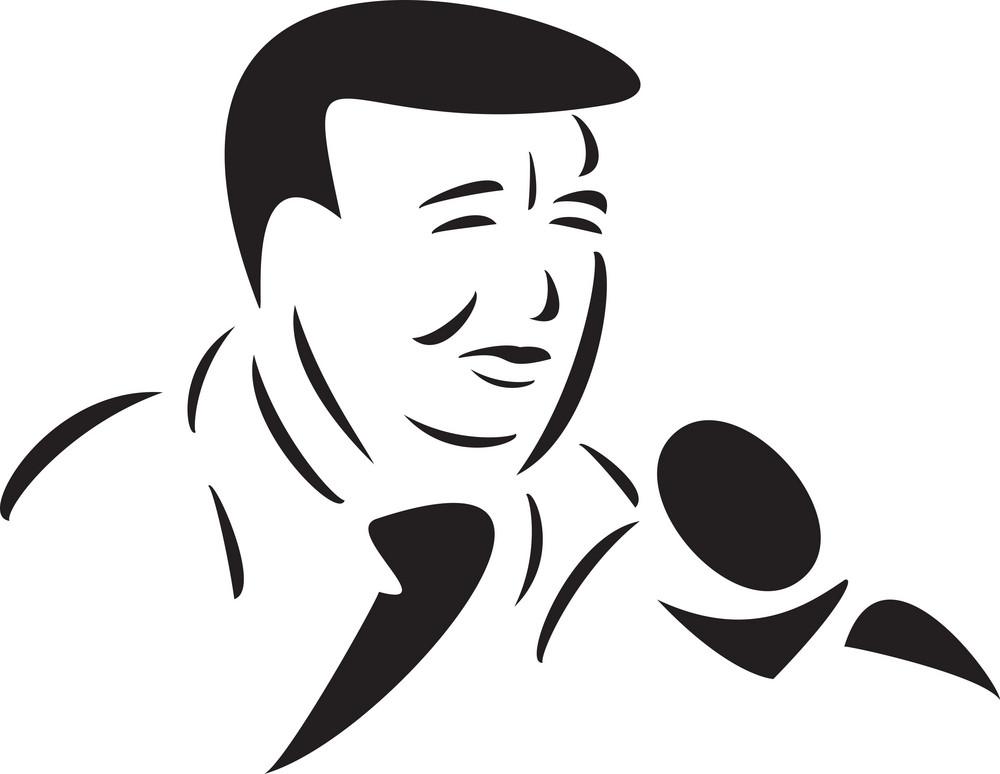 Illustration Of A Speaker Giving Speech In Mike.