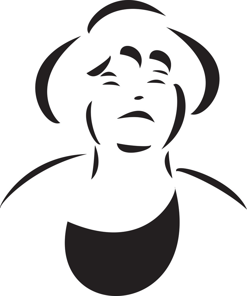 Black And White Illustration Of A Lady.