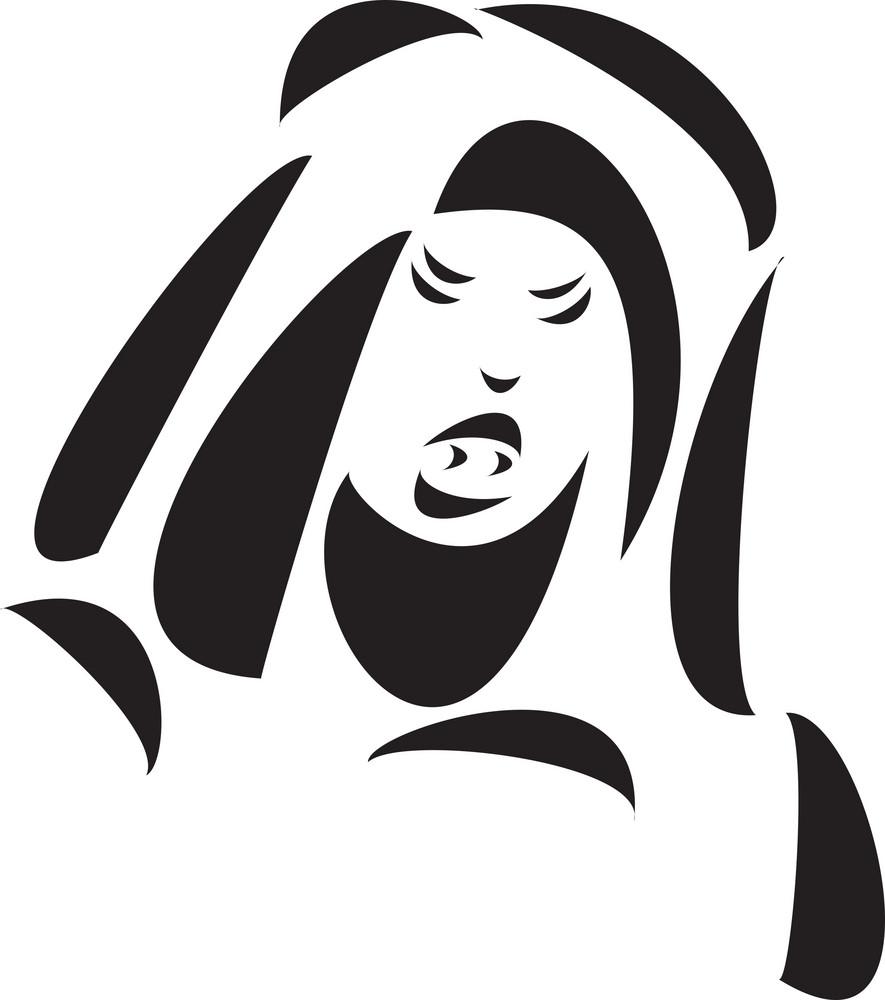 Black And White Illustration Of A Vampire.