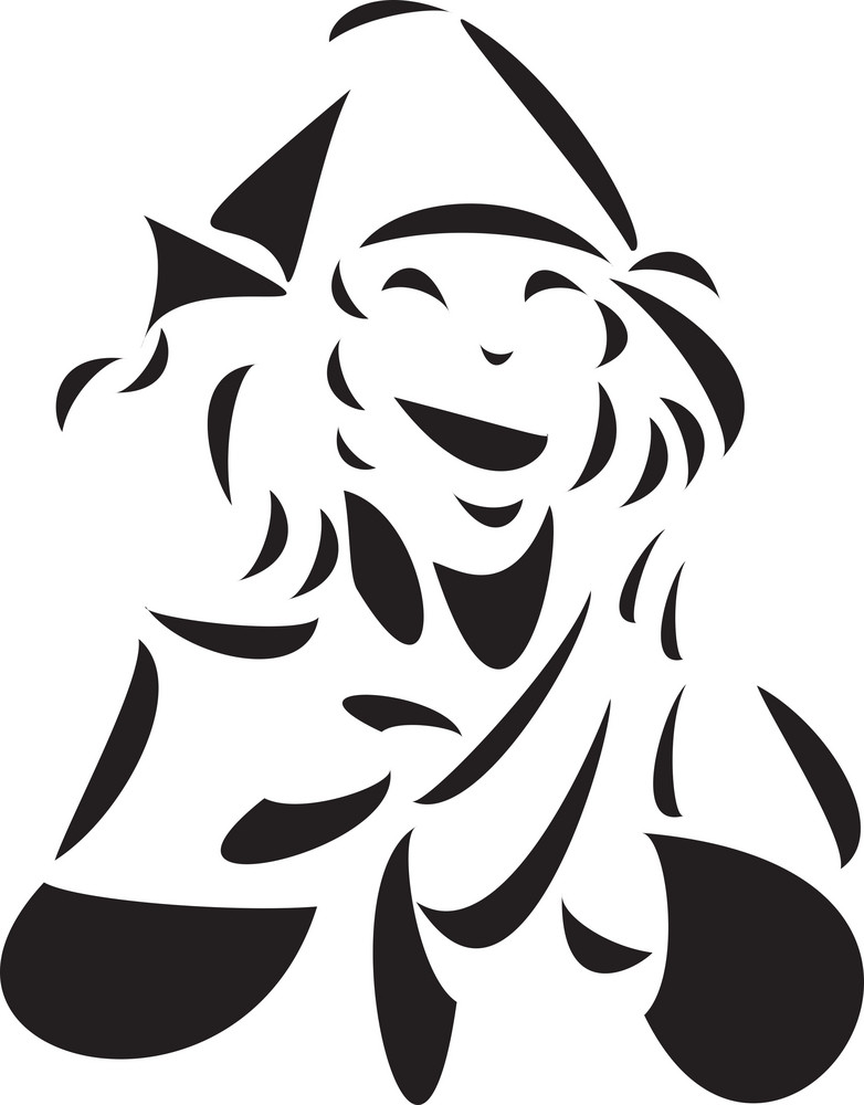 Black And White Illustration Of A Witch.