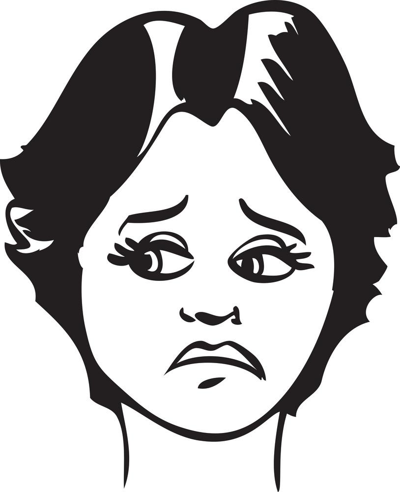 Portrait Of A Sad Girl Face.
