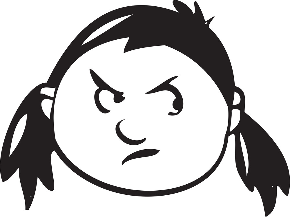 Portrait Of An Angry Cartoon Face.
