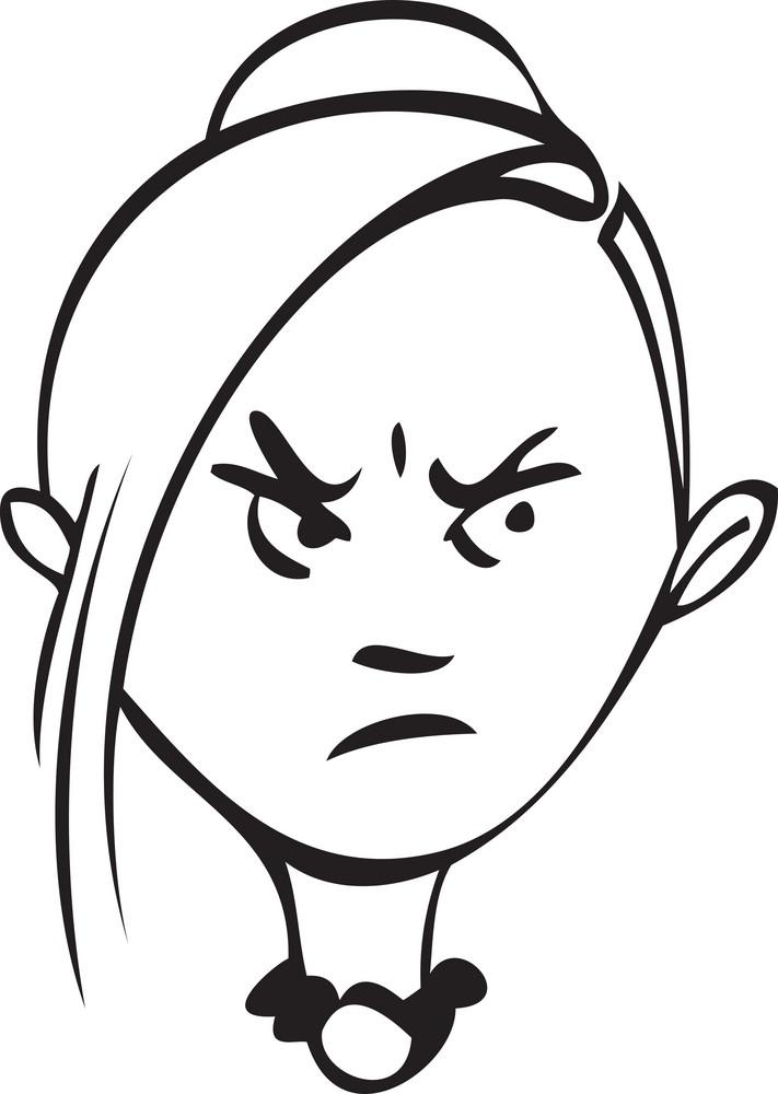 Portrait Of An Angry Girl Cartoon.