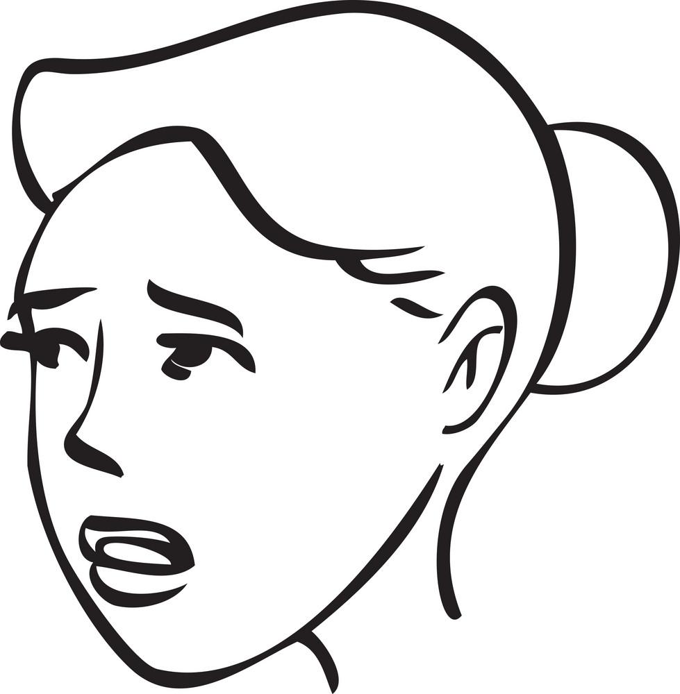 Portrait Of A  Sad Girl Cartoon Face.