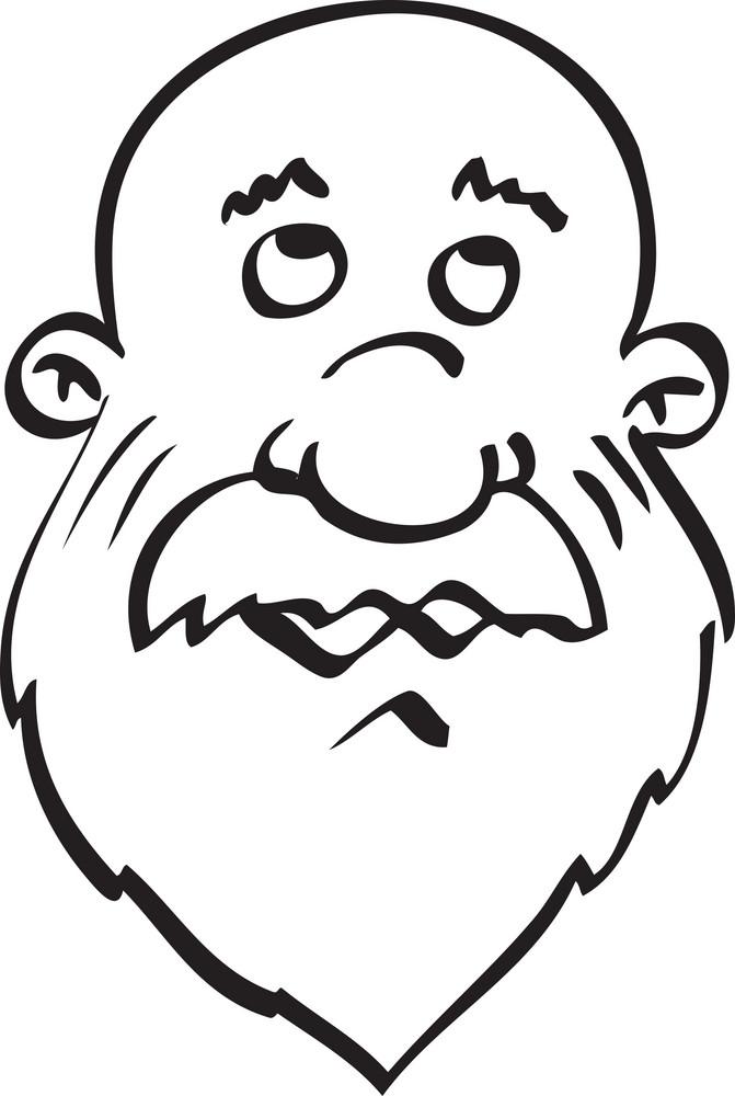 Portrait Of A Sad Cartoon Face.