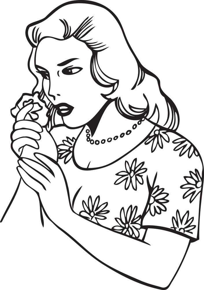 Illustration Of A Lady With Flower.