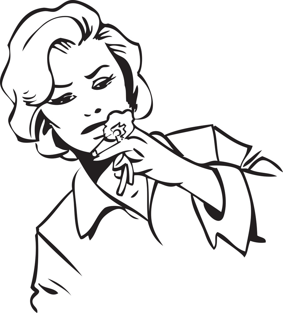 Illustration Of A Girl Smelling Flower.