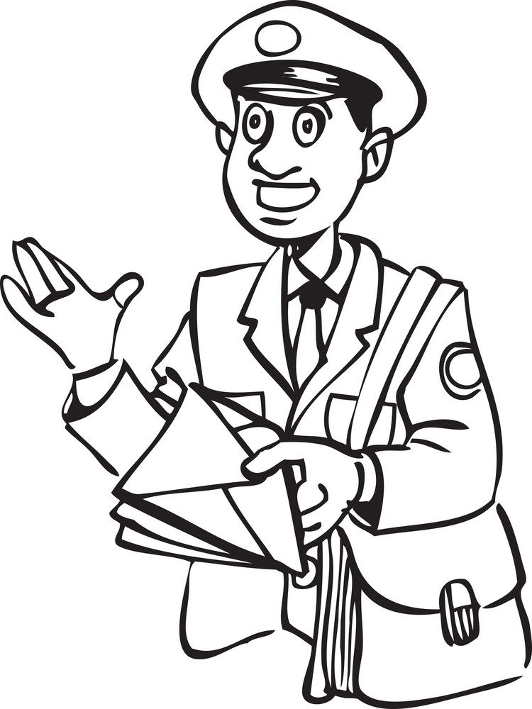 Illustration Of A Postman With Letter And Bag.