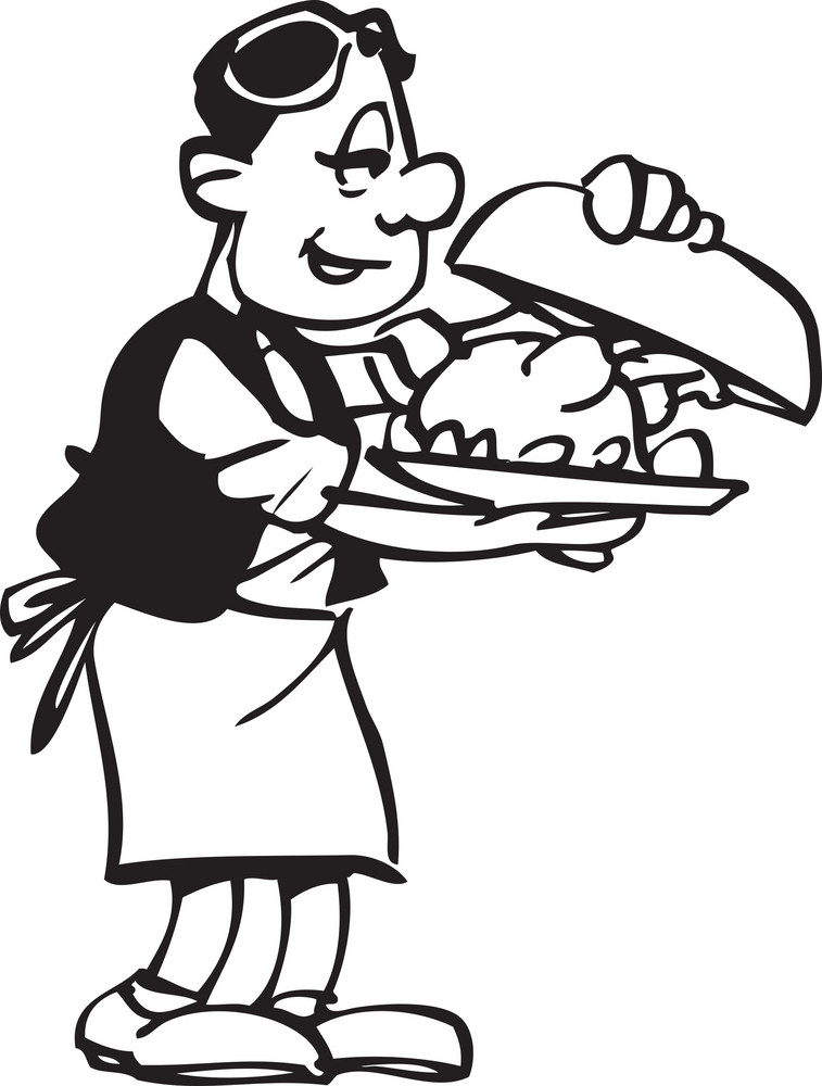 Illustration Of A Waiter With Food Tray.