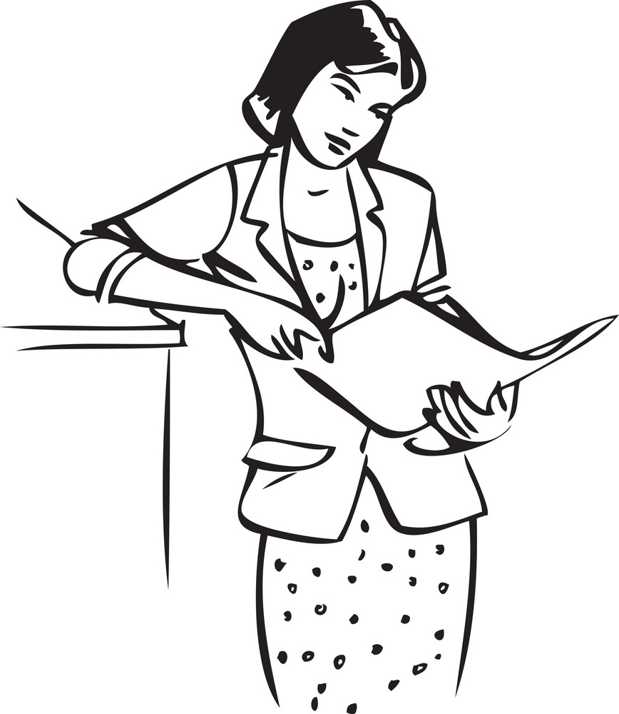 Illustration Of A Lady Reading A Paper.