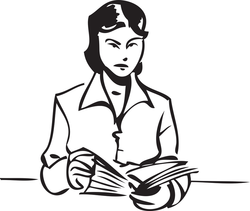 Illustration Of A Lady Reading A Book.