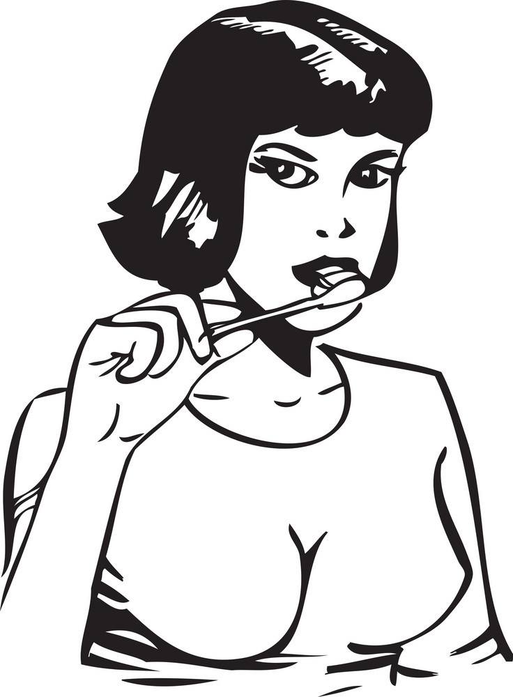 Illustration Of A Lady With Tooth Brush.