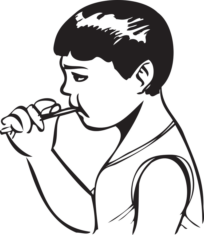 Illustration Of A Boy With Tooth Brush.