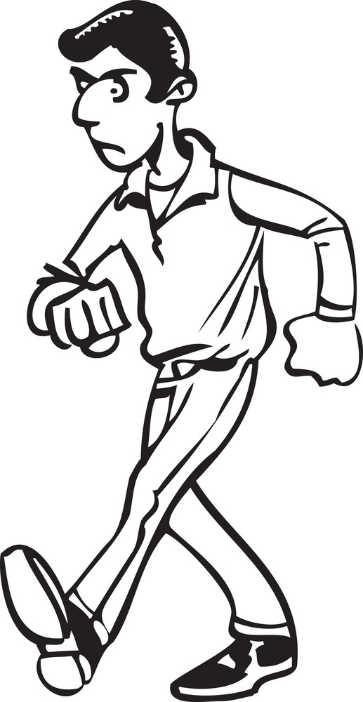 Illustration Of A Walking Man.