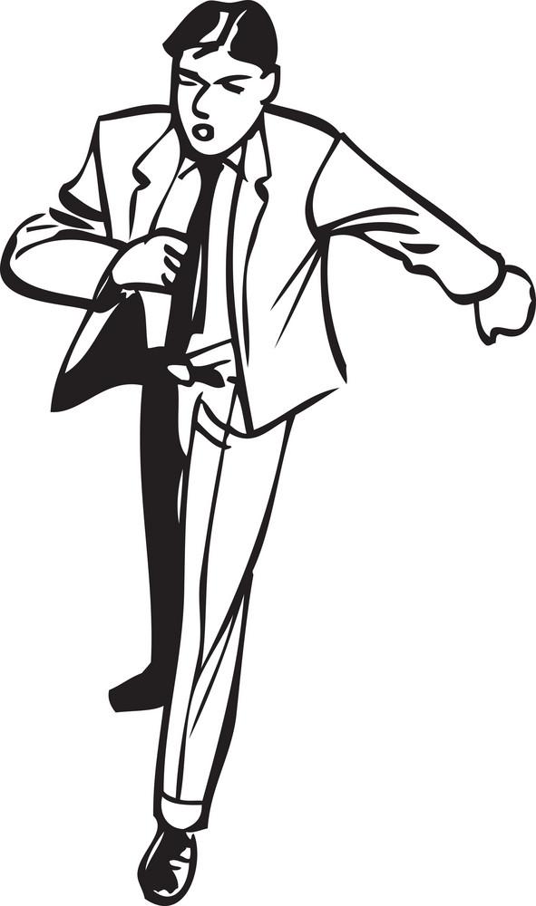 Illustration Of A Walking Man.