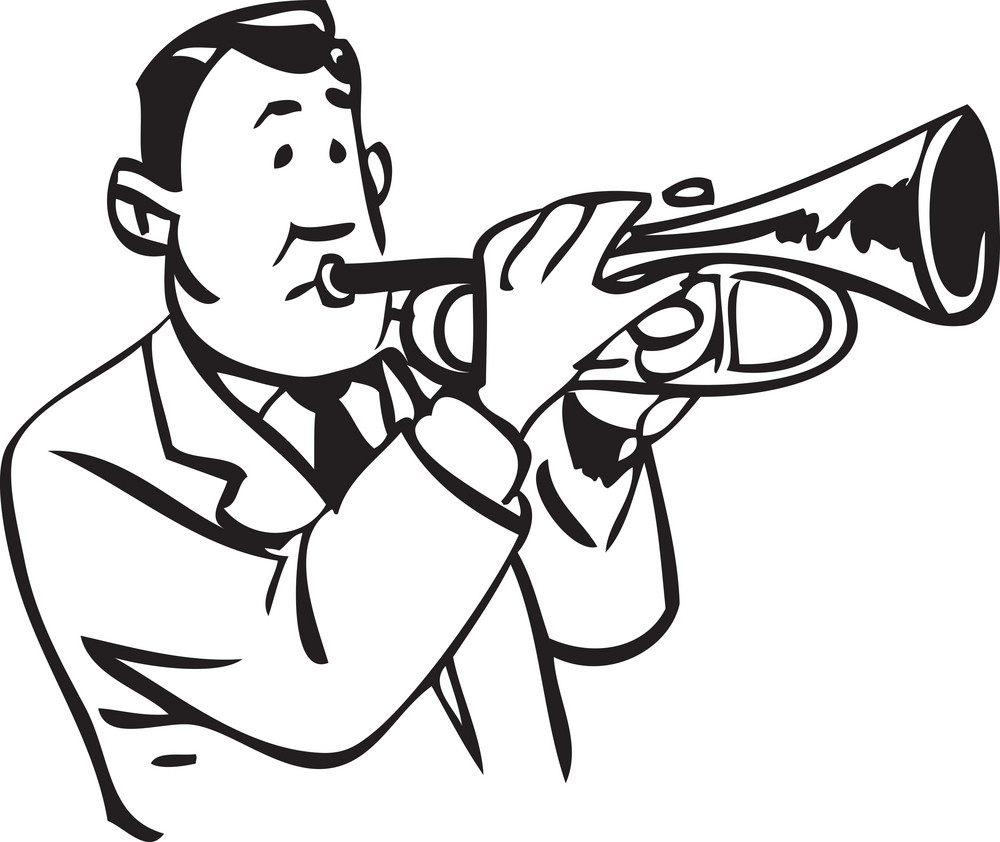 Illustration Of A Man With Trumpet.