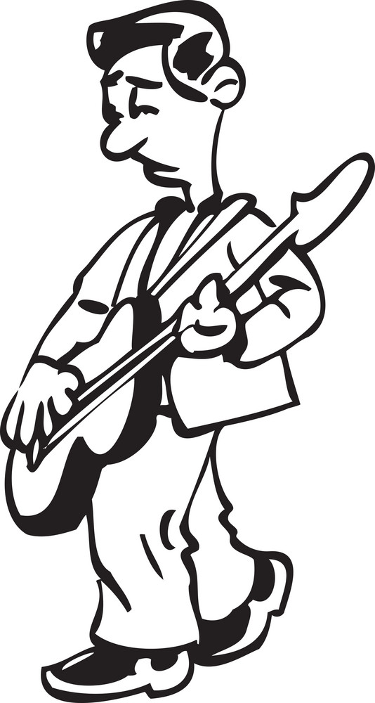 Illustration Of A Man Playing Guitar.