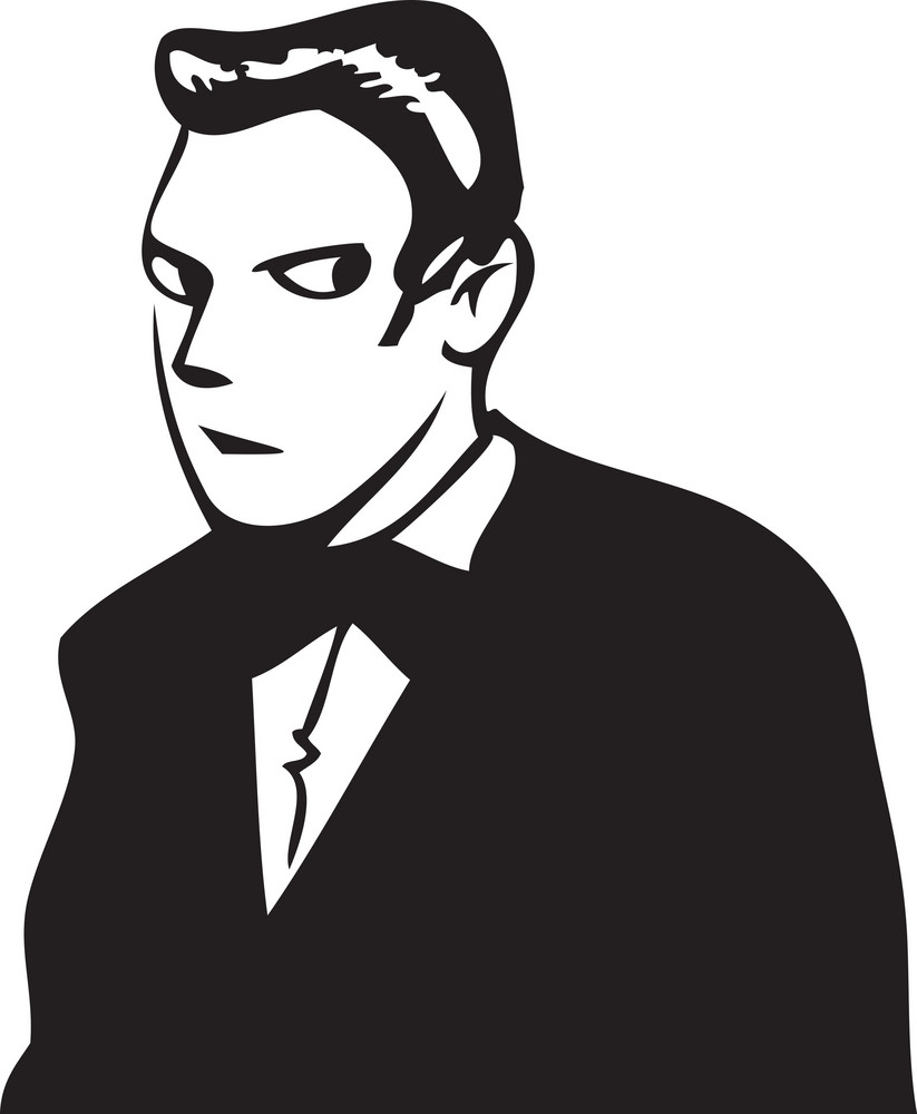 Illustration Of A Man In Suit.