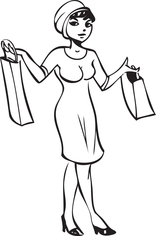 Illustration Of A Lady With Shopping Bags.