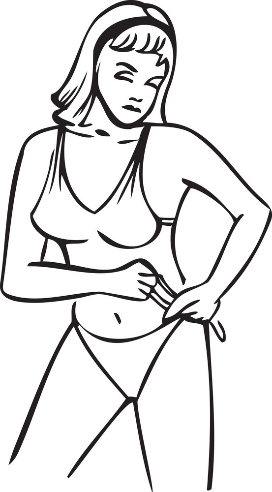 Illustration Of A Lady Wearing Swimming Costume.