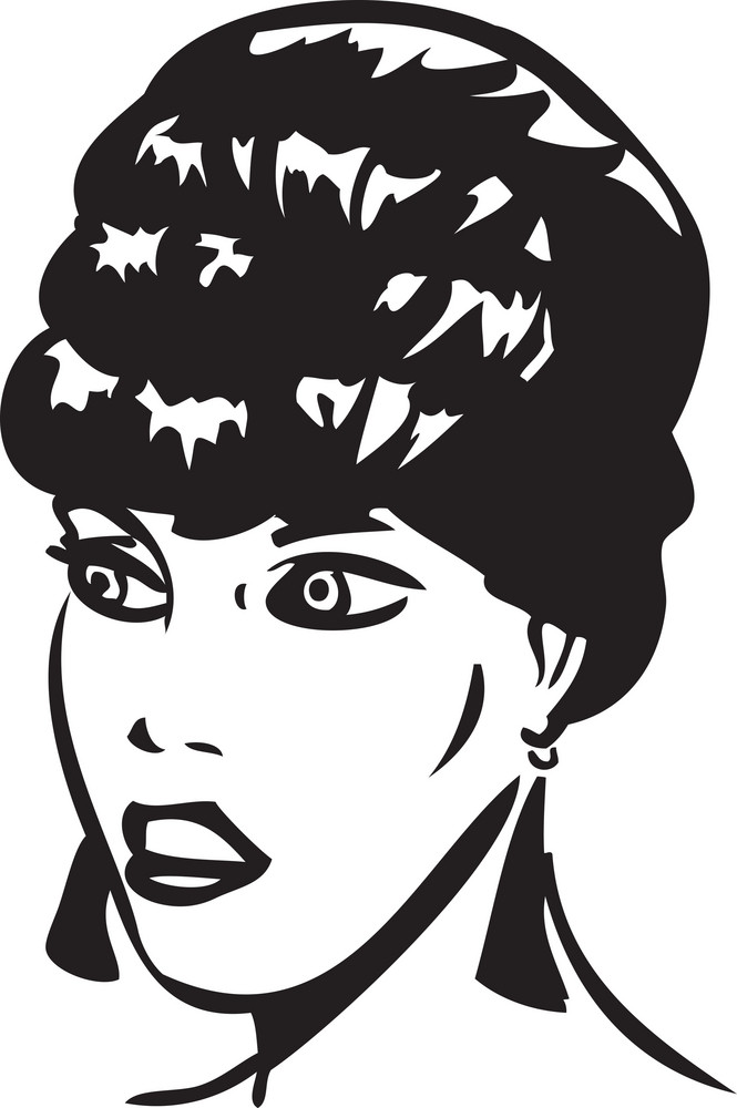 Illustration Of A Retro Lady Face.