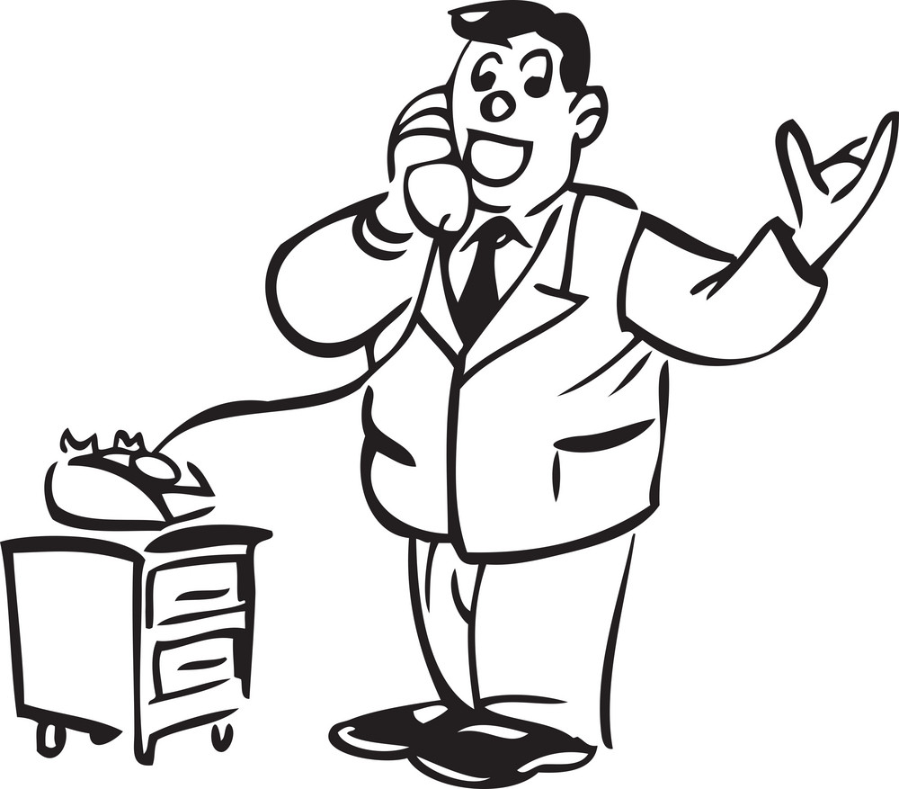 Illustration Of A Man With Telephone.