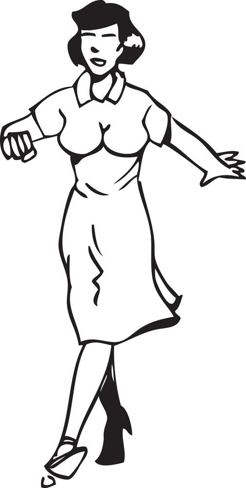 Illustration Of A Retro Dancing Girl.