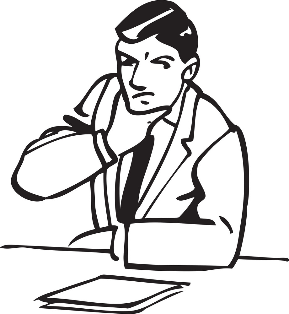 Illustration Of A Thinking Man.