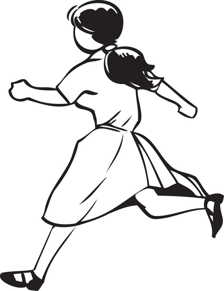 Illustration Of A Running Girl.