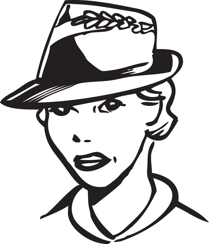Illustration Of A Retro Lady With Hat.