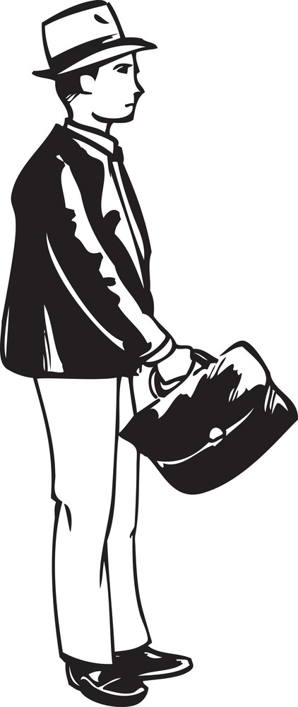 Illustration Of A Man With Bag.