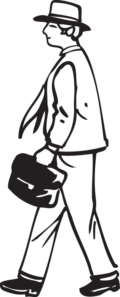 Illustration Of A Man With Bag