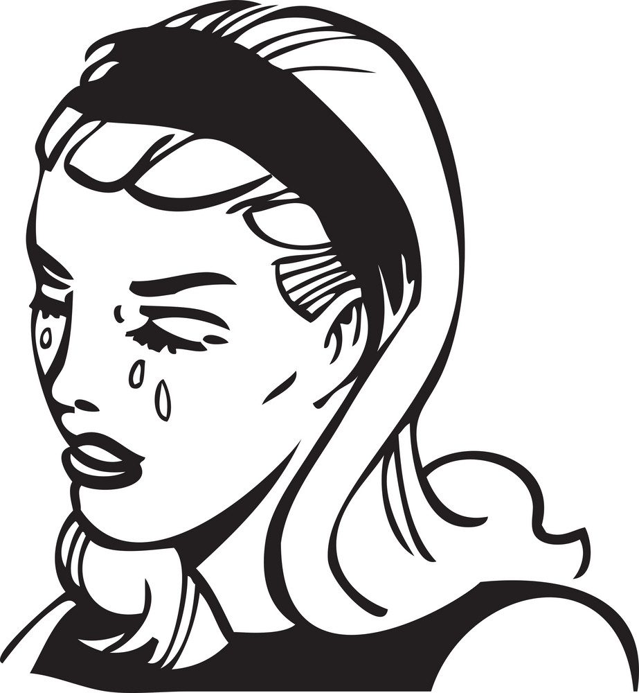 Illustration Of A Crying Lady.