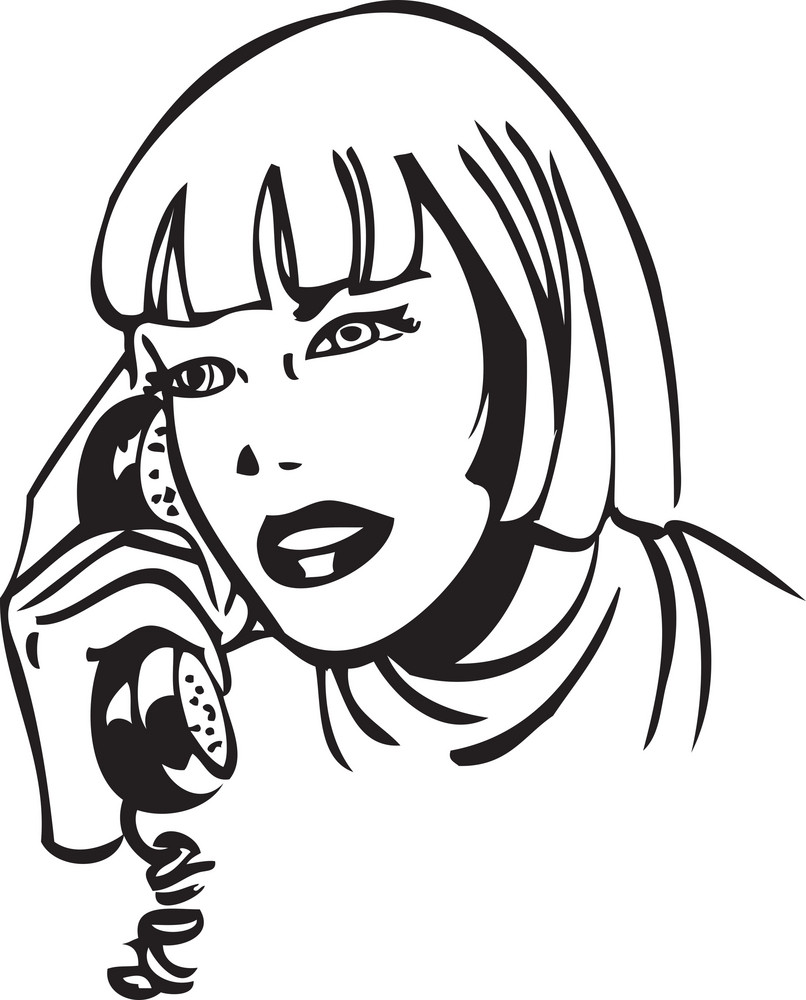 Illustration Of A Lady With Telephone.