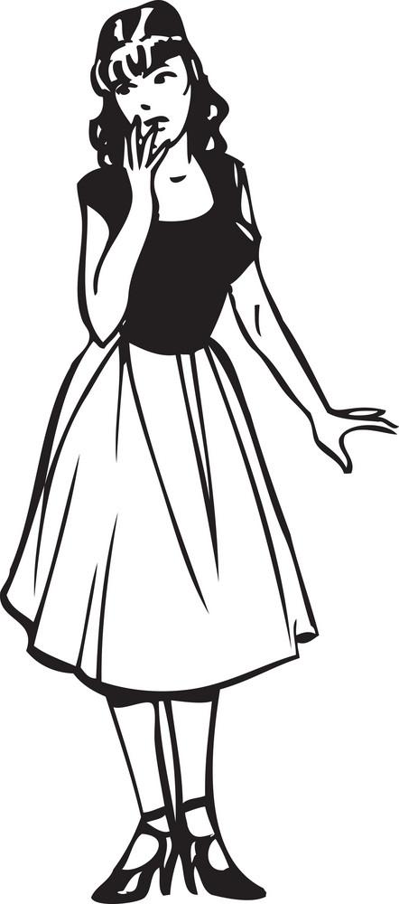 Illustration Of A Retro Stylish Lady.