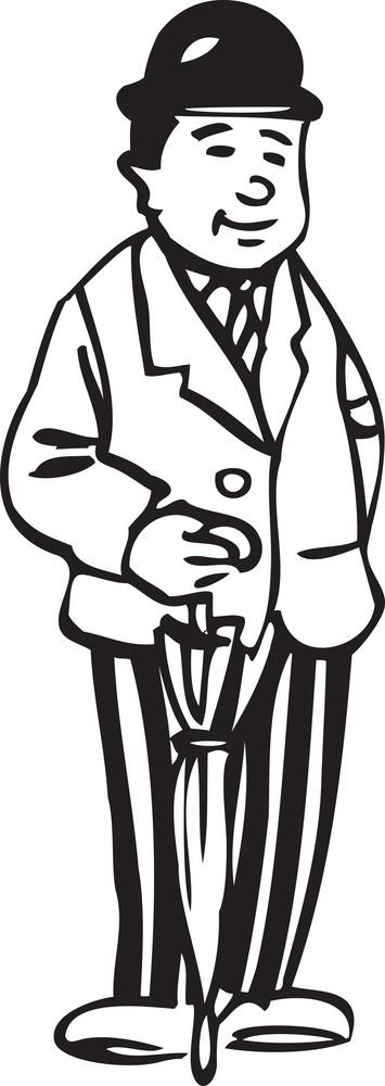 Illustration Of A Man With Umbrella.
