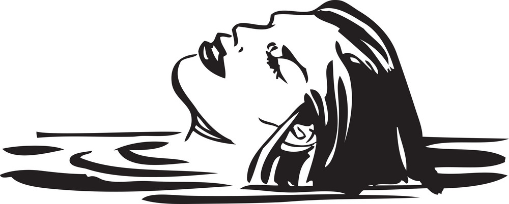Illustration Of A Swimming Lady.