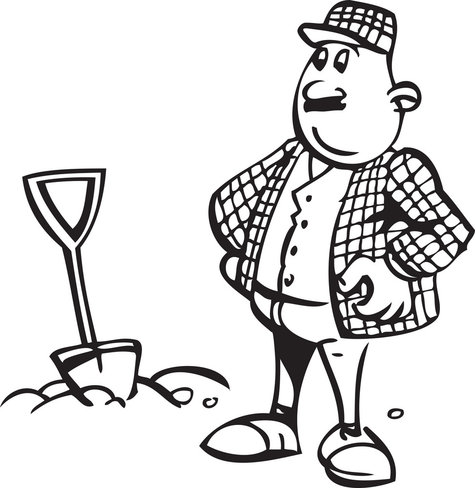 Illustration Of A Man With Shovel.