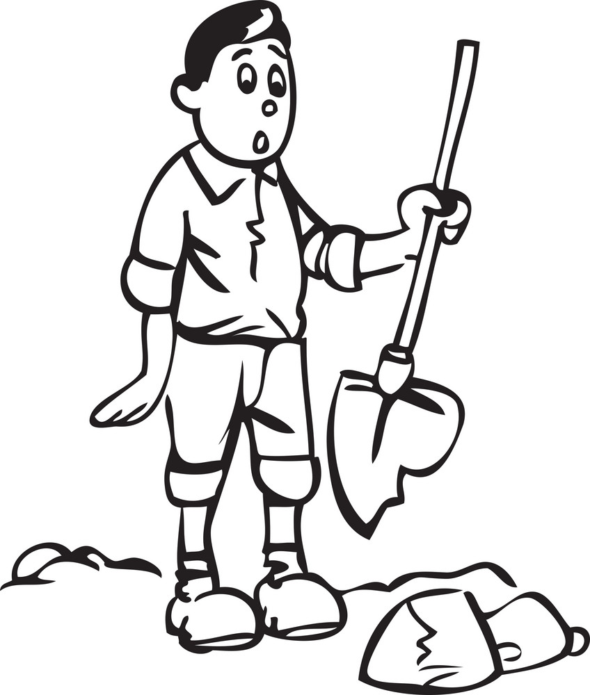 Illustration Of A Man With Shovel.