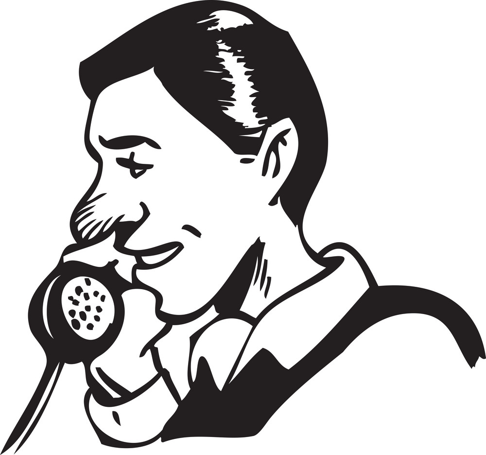 Illustration Of A Man Speaking In Telephone.