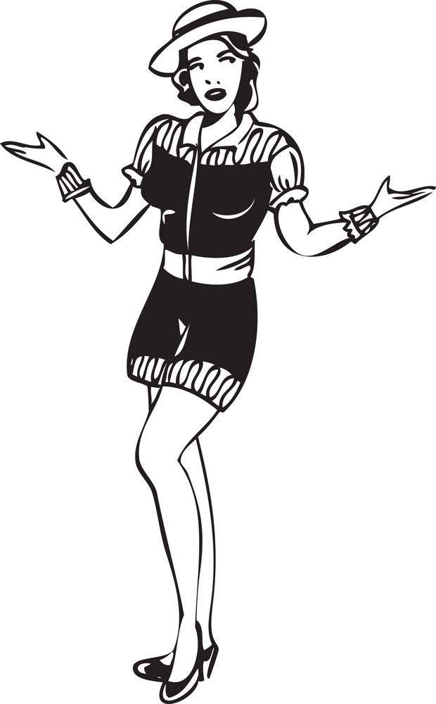Illustration Of A Dancing Girl.