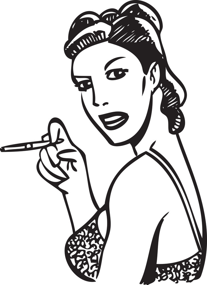 Illustration Of A Lady With Cigar.