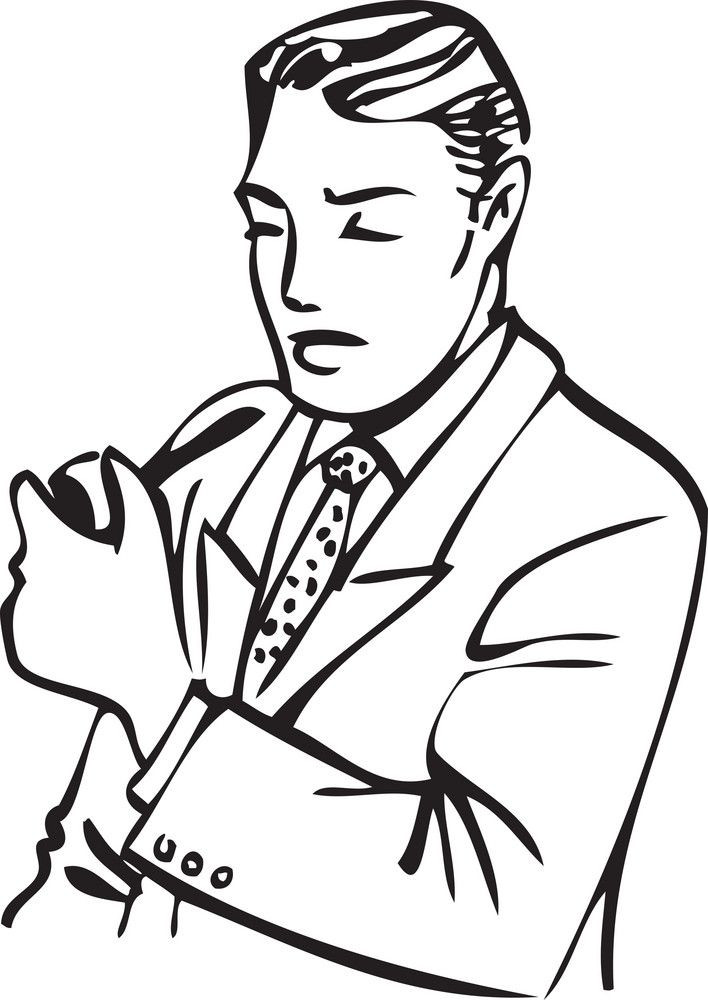 Illustration Of A Man With Tobacco Pipe.