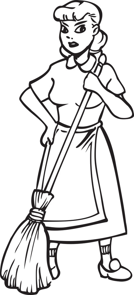 Illustration Of A Lady With Broom.