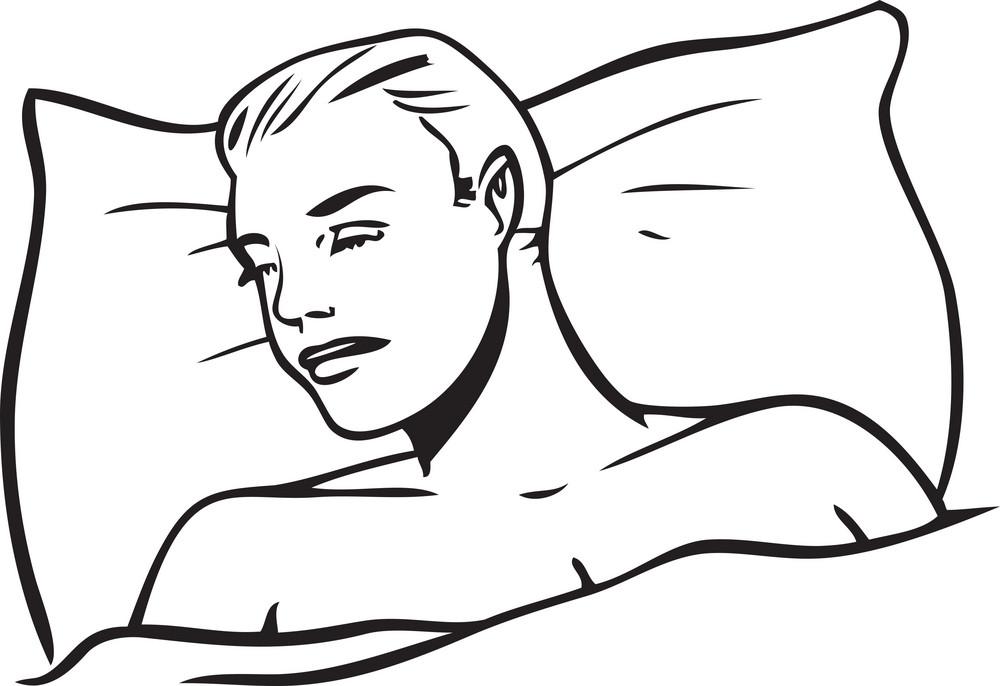 Illustration Of A Sleeping Man.