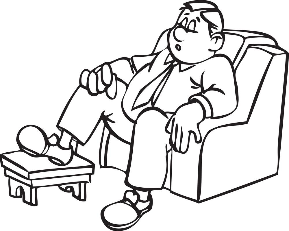 Illustration Of A Sitting Man.